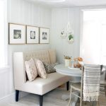 Banquette, Wooden Floor, Beige Sofa With Tall Back, Pale Blue Round Table, Chair, Striped Wall, Green Ceiling Fan Lamp