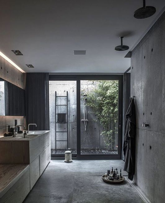 bathroom, grey floor, grey wall, shower in the ceiling, grey bathroom vanity, mirror, sliding glass door, outdoor shower