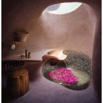 Bathroom, Pink Wall, Pink Floor, Pink Floating Vanity, Wooden Stool, Round Deep Tub