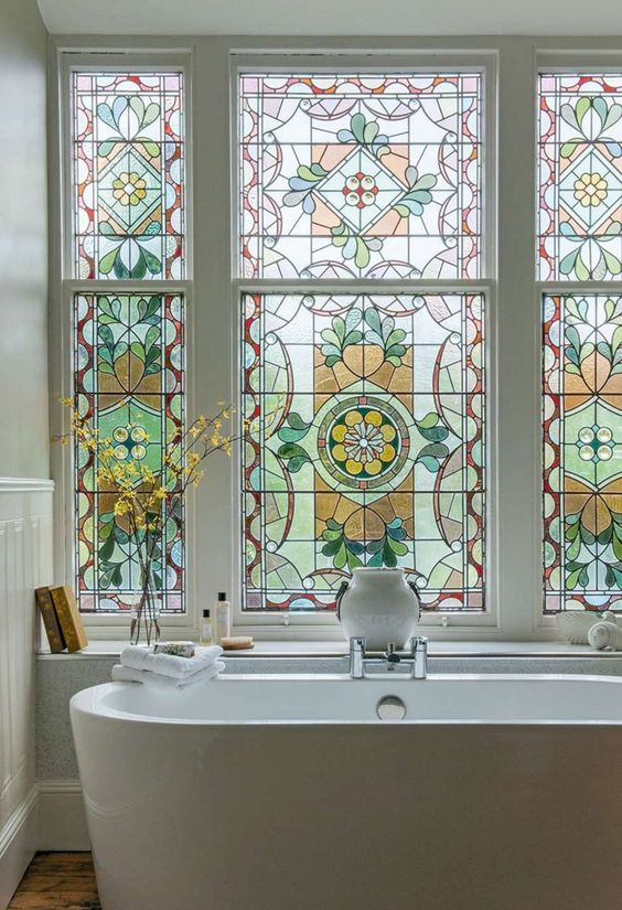 bathroom, stained window glass, white tub, white wall, window shelves