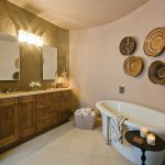 Bathroom Storage Cabinets Freestanding Tub Black Pedestal Side Table Basket Wall Mirror Wall Art Wooden Vanity Mosaic Wall Tile Wall Sconces Sinks