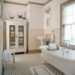 Bathroom Storage Cabinets Wall Mirror Freestanding Tub Windows Shutter Mosaic Floor Tile Bathroom Mat Bench Frames Freestanding Sink Wall Sconce