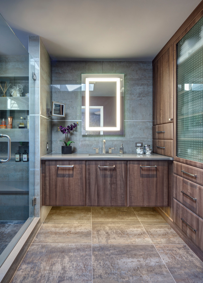 bathroom storage cabinets wall mirror gray wall glass shower doors glass cabinet door recessed lighting sink terra cotta floor tile make up mirror built in shelves