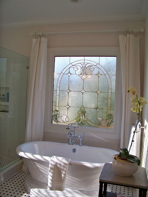 bathroom, white dots floor tiles, white wall, white ceiling, white curtain, white tub, shower area