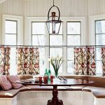 Bay, White Wooden Bench, Brown Cushion, Patterned Curtain, Pendant, Wooden Floor, Brown Glossy Tulip Table
