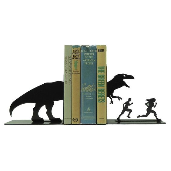 black steel tyranosaur book ends with people run