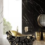 Black Tub With Black Gold Bubles On Outside Of The Tub With Golden Inside, Black Foot, Black Marble Wall, White Marble Floor