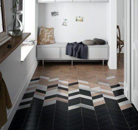 black white wooden chevron floor tiles, grey wooden bench, white wall window