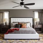 Bronze Ceiling Fan With Light White Bed White Headboard Grey Bedding Wooden Bedside Table Windows Table Lamps Silk Curtains Gray Walls Colorful Shag Rug Pillows