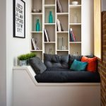 Built In Reading Nook, White Bench, White Wall, Open Brick Wall, Built In Shelves