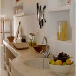 Built In Round Sink On Long White Kitchen Top, Built In Shelves, Built In Floating Shelves