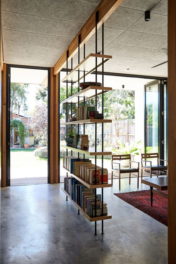 built in shelves with black wire, wooden boards, on wooden beam