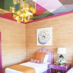 Colorful Geometric Blocks, Pink Frame, Glass Pendant, Wooden Wall, Purple Rug, Purple Bed Platform