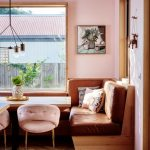 Dining Nook, Wooden Chevron Floor, Pink Wall, Wooden Built In Bench With Leather Cushion, Pink Chairs, Wooden Table, Pendant, Large Window