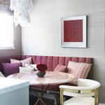 Dining Nook, Wooden Floor, White Chair, Pink Corner Bench, Wallpaper, Chandelier