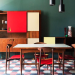 Dining Room, White Black Red Hexagon Floor Tiles, Dark Green Wall, Wooden Cabinet With Red White Doors, Black Pendant