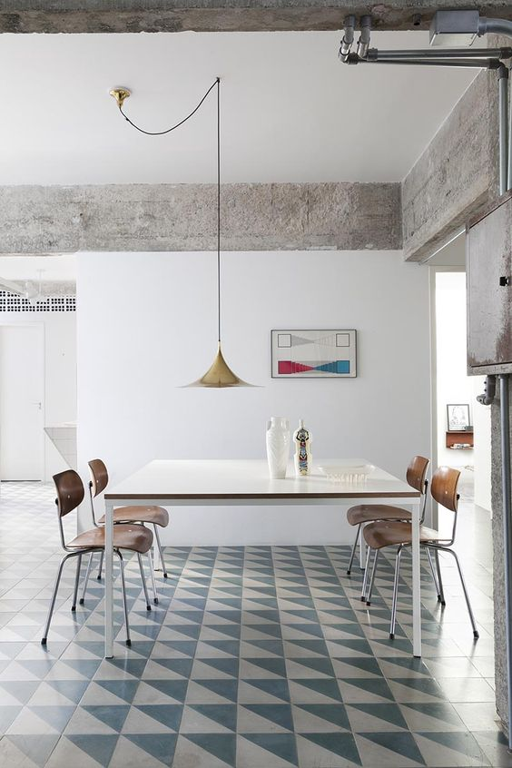 dining room, white green floor tiles, white wall, white square table, wooden chairs, wooden pendant