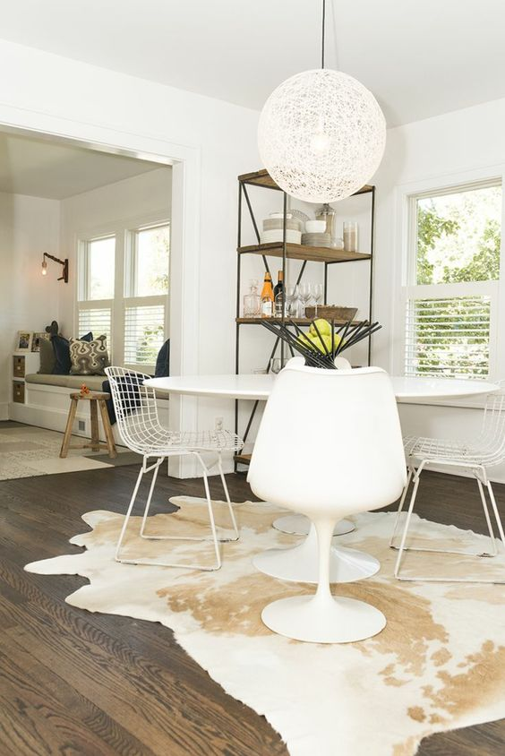 dining room, wooden floor, white wall, white round pendant, white dining set