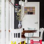 Dining Set With Brown Wooden Round Table, White Chairs With Colorful Legs