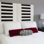 Diy Headboard Black And White Striped Headboard White Table Lamp Wooden Bedside Table White Pillows White Bedding Red Throw Pillows Gray Wall