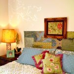 Diy Headboard Frame Colorful And Patterned Headboard Bedding Pillows Rustic Table Lamp Wooden Side Tablw Wallpaper Indoor Plant