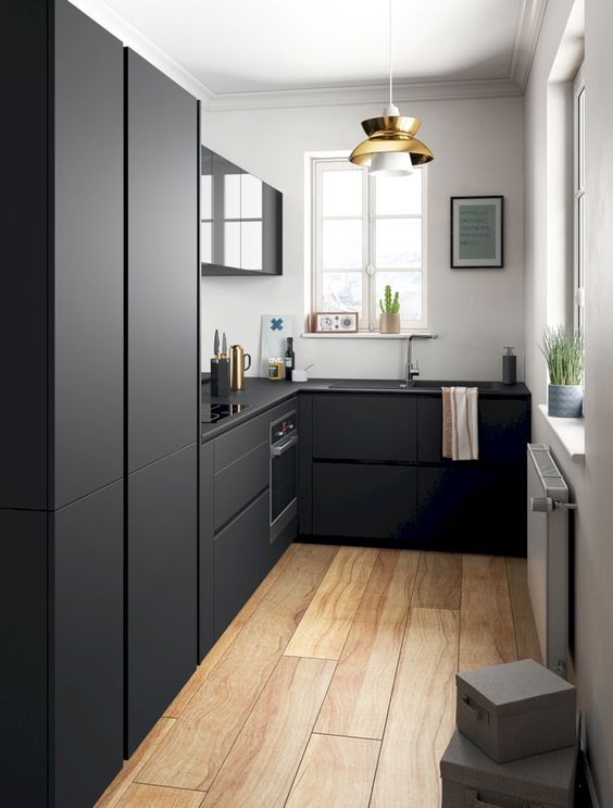 galley kitchen, black bottom cabinet, white wall, black cupboard, black top, black upper cabinet, modern pendant