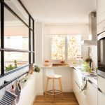 Galley Kitchen, Wooden Floor, Rails On The Side, White Bottom Cabinet, Window, White Modern Stool