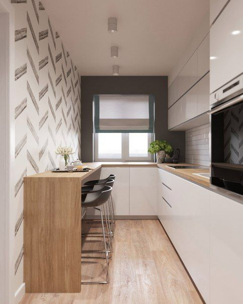 galley kitchen, wooden floor, white smooth cabinet, white backsplash, black wall, white wallpaper, wooden island, black stools