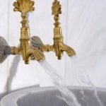Golden Shells Faucet, White Marble Wa