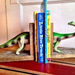 Green Dinosaur Book Ends With Wooden Pedestal