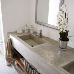 Grey Cement On The Vanity, Shelves Nder, Grey Cement Floor, White Wall, Mirror