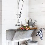 Grey Stone Sink, White Wooden Support, White Plank Wall, White Pendant