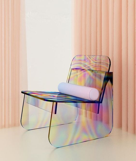 hologram chairs, white floor, orange curtain