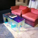 Hologram Coffee Table, Brown Floor, Red Sofa And Chair, Black Sofa