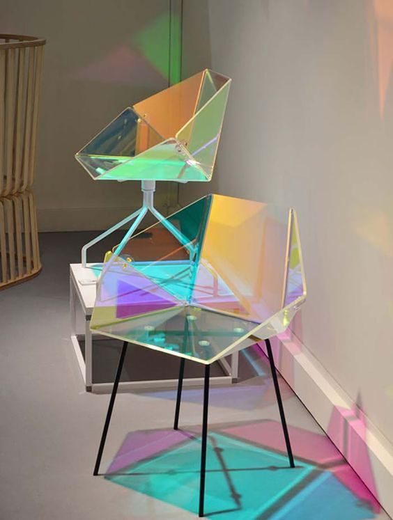 hologram geometrical chairs with black legs, beige floor, beige wall