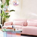 Hologram Pendants, Pink Rug, Pink Sofa, Round Glass Coffee Table, White Wall, Wallpaper