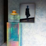 Hologram Tall Thin Table, White Wall, White Floor