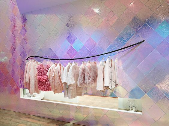 hologram wall tiles, wooden floor, black lines hanger for clothes