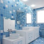 Kids Toilet, Blue White Floor And Wall Tiles, White Vanity Wth Three Height, Mirror, White Round Sink