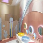 Kids Toilet, White Floor Tiles, Brown Wall, Pink Floor Tiles, Pink Backsplash, Yellow Blue Pink Sink, Round Mirror