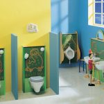 Kids Toilet, White Floor Tiles, Yellow Wall, Green Cabinet Behind White Floating Toilet, White Urinal, White Sink, Blue Wall