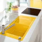 Kitchen, White Kitchen Vanity, Yellow Sink, Black Stove, Silver Faucet