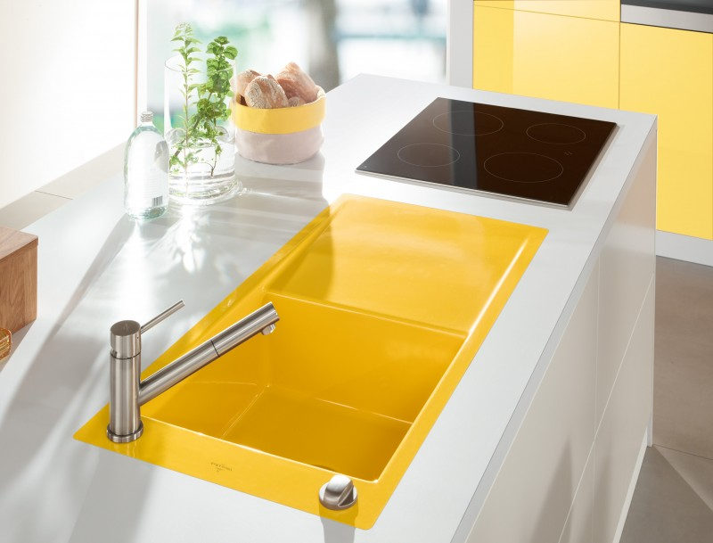 kitchen, white kitchen vanity, yellow sink, black stove, silver faucet