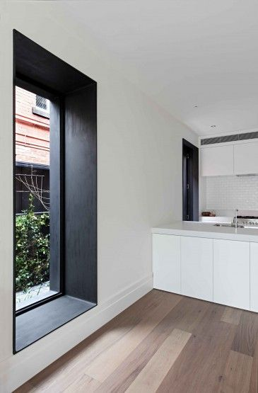 kitchen, white wall, white kitchen cabinet, wooden floor, white ceiling, white subway backsplash