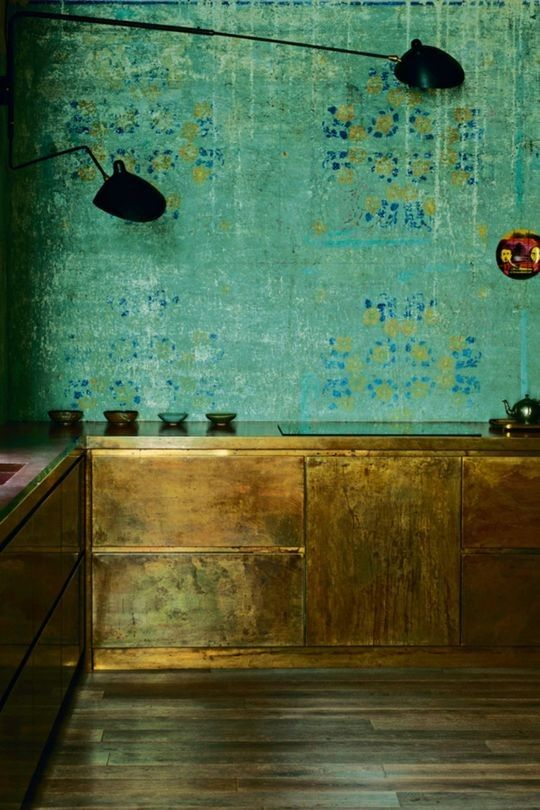 kitchen, wooden floor, copper cabinet, green patterned wall, black lamp