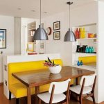 Kitchen, Wooden Floor, White Chairs, Yellow Sofa, Wooden Table, White Kitchen, Silver Pendant, Shelves