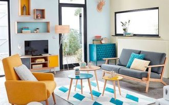 living room, grey seamless floor, white blue rug, round coffee table, soft blue yellow wall, grey sofa, yellow chair, floating box helves, wooden cabinet