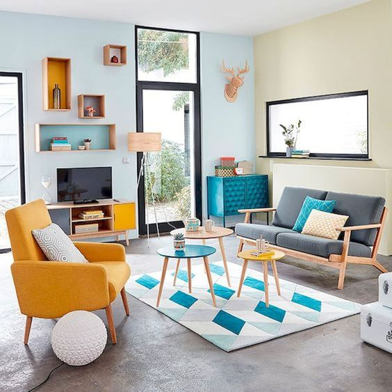 Pretty And Bright Pop Colors On Retro Living Room Decohoms