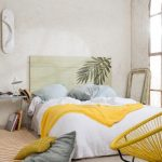 Master Bedroom, Beige Floor, Off White Wall, Soft Green Wooden Headboard, Wide Side Table, Yellow Rattan Chair, Arge Window