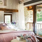 Master Bedrooms, Wooden Flor, Wallpaper, Wooden Ceiling With Beams, Sliding Glass Door, Bench, White Bedding, Pink Purple Pillows